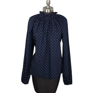 NWT Gap Smocked Neck Navy Floral Blouse Small